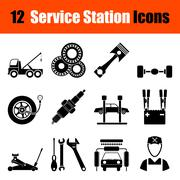 Set of Service station icons - stock illustration