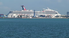 Huge Cruise Liner on the Port of Miami, as seen from Brickell, closer shot Stock Footage
