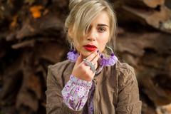 Girl with fringe - stock photo