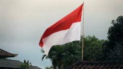 Shot of fluttering Indonesian national flag, super slow motion 240fps Stock Footage