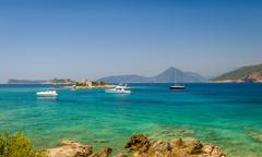 Adriatic sea bay near Fort Arzla. Boat anchorage Stock Photos