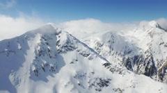 Aerial Flight Over Mountain Range Sun Shining Through Clouds Morning Mist Arkistovideo