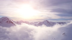 Epic Aerial Flight Through Mountain Clouds Towards Sunrise Beautiful Morning Arkistovideo