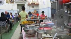 Capital city street food cafe kitchen 4k panorama bangkok thailand Stock Footage