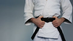 Martial arts Master with black belt Stock Footage