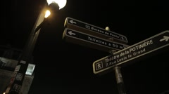 Tourism Signs at Night - Paris, France Stock Footage