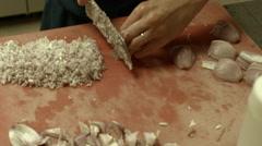 Restaurant Kitchen, Chef Slicing Shallots Stock Footage