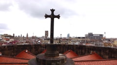 Slide shot of Gothic cross at roof top above altar area, Barcelona Cathedral Stock Footage