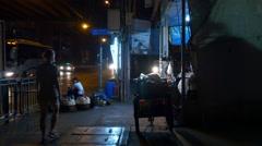 night city girl walk traffic street side 4k bangkok thailand - stock footage