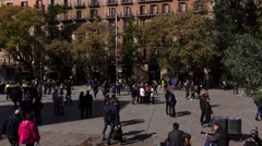 People at Seu square at sunny February day, central Barcelona, Stock Footage