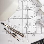 Architectural blueprints, blueprint rolls, compass divider, calc Stock Photos