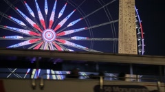 Roue de Paris / Ferris Wheel at Night - Paris, France Stock Footage