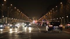 Arc de Triomphe and Avenue des Champs-Élysées at Night. Paris, France Stock Footage