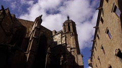 Gothic Cathedral octagonal bell tower low angle pan shot, old city area Stock Footage