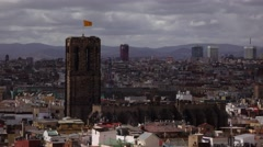 Santa Maria del Pi, Gothic Church at Barcelona, telephoto view from top point. Stock Footage