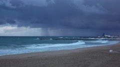 Empty beach of Balearic Sea at February evening, severe windy weather Stock Footage
