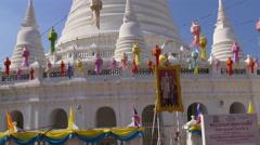 Celebrate decoration wat arun temple pagoda 4k bangkok thailand Stock Footage