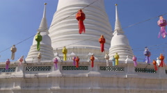 Wat arun white temple colored lamps decoration 4k bangkok thailand Stock Footage