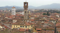 Lucca, Italy zoom out Medieval skyline - stock footage
