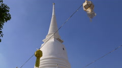 Sunny day decoration temple roof walking view 4k bangkok thailand Stock Footage
