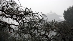 Beijing Jingshan Park covered with a dense smog at winter. China Stock Footage