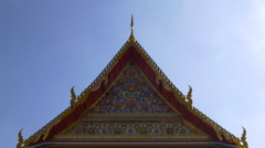 Wat arun famous temple roof decoration sunny day view 4k bangkok thailand Stock Footage
