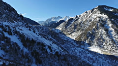 Winter landscape. Aerial view. Kazakhstan. In the mountains of Trans-Ili Alatau Stock Footage