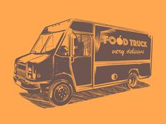 Painted vector food truck on a orange background - stock illustration