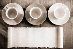 Empty ceramic cup on wood Stock Photos