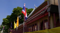 City temple celebrate decoration flags walking view 4k bangkok thailand Stock Footage