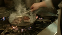 Restaurant Kitchen, Cooking Steak Stock Footage