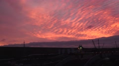 American River dams, Folsom and Nimbus, sunrise over dam Stock Footage