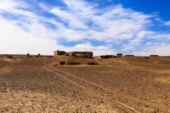 Berber house in the desert Sahara - stock photo