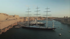 Aerial Shot - A luxurious yacht Stock Footage