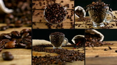 Montage collection of clips that show pouring coffee Stock Footage