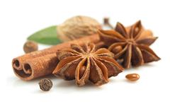 Cinnamon sticks, anise star and other spices Stock Photos