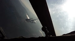 Flying military aircraft pair, the view from the cockpit. - stock footage