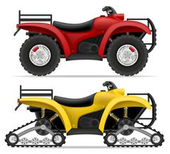 atv motorcycle on four wheels and trucks off roads vector illustration - stock illustration