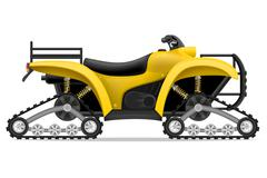 atv motorcycle on four tracks off roads vector illustration - stock illustration