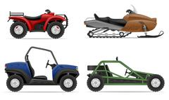 set icons atv automobile off roads vector illustration - stock illustration