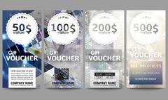Set of modern gift voucher templates. DNA molecule structure on dark blue - stock illustration