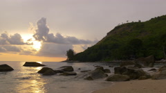 Rocky beach phuket island bay sunset panorama 4k thailand Stock Footage