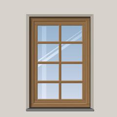 Arched wooden window - stock illustration