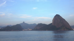 Stock Video Footage of Rio de Janeiro skyline with Christ the Redeemer and Sugarloaf mountain