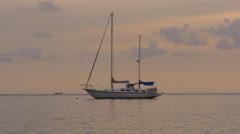 sunset sky beach yacht panorama 4k phuket thailand - stock footage