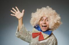 Stock Photo of Funny man with afro wig