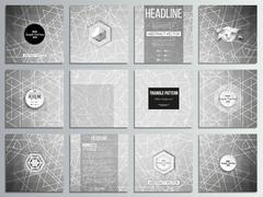 Set of 12 creative cards, square brochure template design. Sacred geometry Stock Illustration