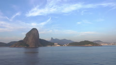 Rio de Janeiro skyline with Christ the Redeemer and Sugarloaf mountain - stock footage