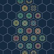 Stock Illustration of Set in oriental style on hexagons background