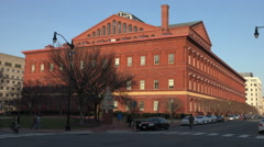 National Building Museum in warm setting sun, Washington, DC Stock Footage